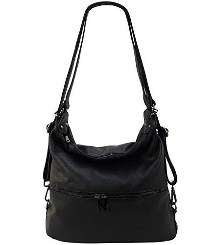 Freyday 2in1 Handtasche Rucksack Designer Luxus Henkeltasche aus 100% Echtleder (Schwarz)