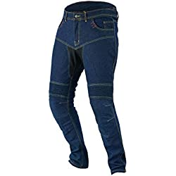 "JET Pantalon Moto Hombre Jeans Kevlar Aramid Con Armadura TECH PRO (48 Largo/Cintura 32"" Longitud 34""(M), Azul)"