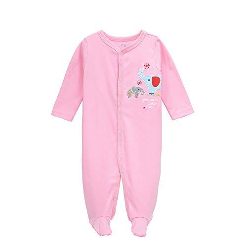 QQSS Mono de bebé Algodón Manga Larga Unhooded Joker Suave Cómodo Pijama de bebé Informal Traje de Escalada Haco Rosa, 10-12M