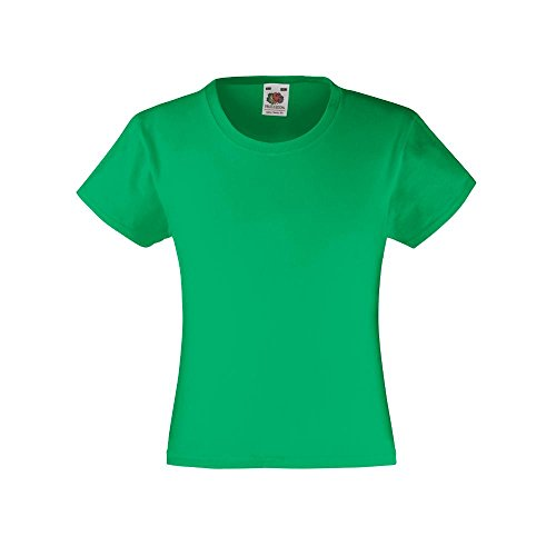 Fruit of the Loom - Mädchen T-Shirt 'Girls Valueweight T' Age 3-4,Kelly Green (Green Kelly)