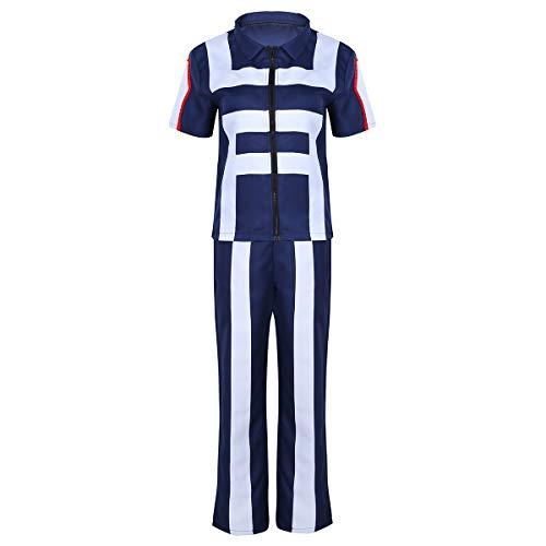 iEFiEL Unisex Herren&Damen Erwachsenen Kostüm Hero Cosplay Gymnastik Anzug Anime Verkleidung Kurzarm Shirt +Lange Hosen Traininganzug Marineblau Small