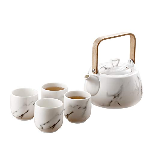 Hetoco Japanese Classic Marble Ceramic Tea Set with Flower Pattern,Teapot & 4 Teacups.