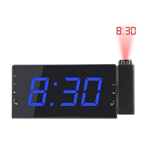 Reloj Despertador De Proyección, Reloj Digital De Radio FM con Alarma Dual, Función De Repetición...