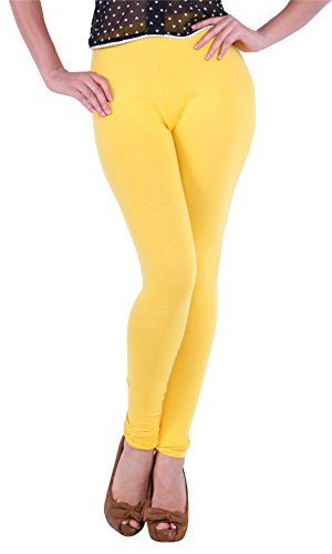 The Gud Look Women's Cotton/spandex Stretch Legging 28 Yellow  available at amazon for Rs.199