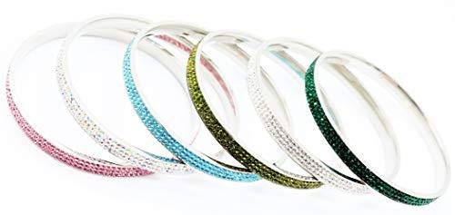 Glamour & Shine~ Elegantes Armband Armreif aus hochwertigen Chirurgenstahl für Frauen Damenschmuck in Silber verziert mit mehrfarbigen Kristallen