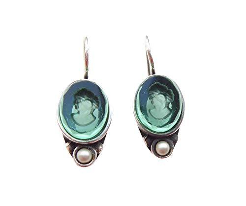 Grüne zierliche Gemmen-Ohrringe Ohrhänger Glas-Gemme Süßwasser-Perle Haken verschließbar Bronze...