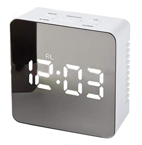 XIAOMEI Multi-Function Créatif Miroir Radio-réveil Batterie-à Double Usage Snooze Gradateur Radio-réveil Carré Blanc Bleu-D 8cm(3.1inch)