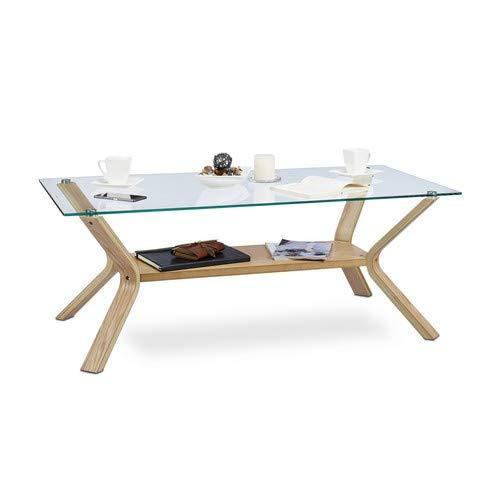 Relaxdays Couchtisch Holz Glas, Rechteckig Massiv XL Glasplatte 120 x 60 cm, 45 cm hoch, Designer Sofatisch, Eiche natur -