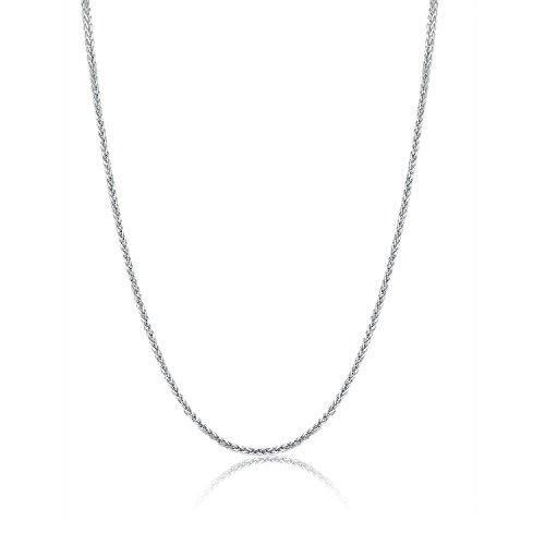 18 Karat / 750 Weißgold Schöne Diamantschliff Spiga Weizen Kette Länge wählbar (60) (Diamant-halskette 1 2 Karat)