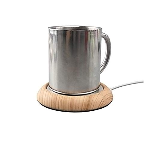 Surenhap Tassenwärmer USB, Getränkewärmer Desktop Becher Wärmer für Tee, Kaffee oder Milch Heizung (Helles Holz)