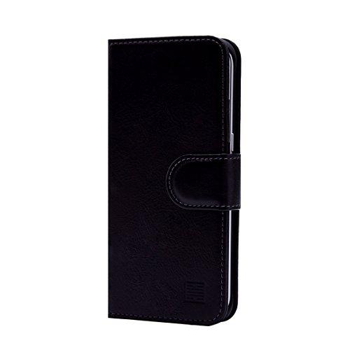 32nd® Premium-Lederbuch Brieftasche Tasche für Samsung Galaxy S8 Plus, hergestellt aus Luxus italienischen aus echtem leder - Schwarz