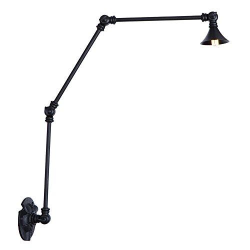 Multi-armed Wandleuchten/LED enthalten/schwarz versenkbare industrielle Retro-Wandleuchte/Vintage Swing Arm verstellbare Überlänge Wandleuchte für Büro, Handwerk, Studio, Beleuchtung Bar Café Studie -