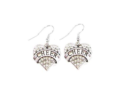 Cheer Cheerleading Silber Draht Haken Ohrringe Kristall klar Herz Jewelry Squad