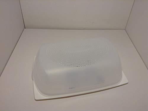 Tupperware A204- Contenitore porta formaggio, nuova modello più grande, in Plastica, Bianco/Trasparente, 30x 18.8x 9.4cm