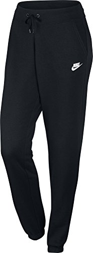 Nike Damen Fleece Regular Trainingshose, Black/White, S (Kordelzug Rayon)
