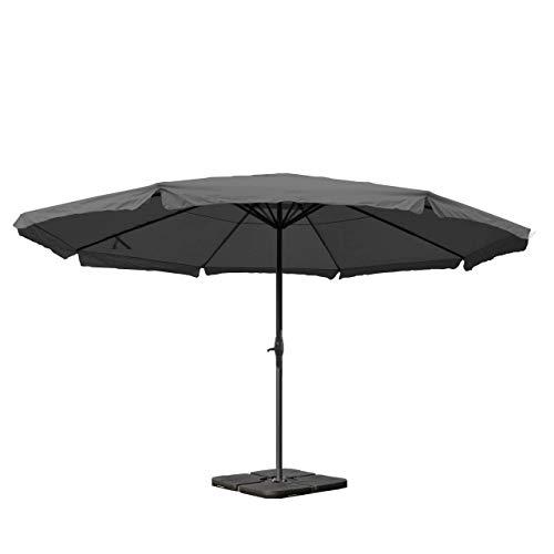 Parasol Meran Pro, gastronomie, Parasol pour marché avec volantsØ 5m Polyester/alu 28 kg~Anthracite avec Socle