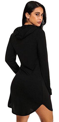 La Vogue Mini Robe Femme Pull Manches Longues Casual Sweat-Shirt Noir