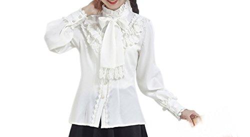 Damen Viktorianische Chiffon Bluse Rüsche Shirts Vintage Tops weiß (Kragen Schal Knopf 1)