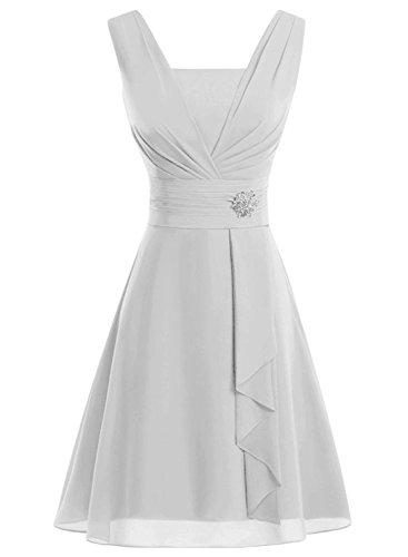 Azbro Women's Fancy Rhinestone Waist Ruffled Dress white