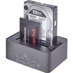 Renkforce USB 3.0 SATA 2 Port Festplatten-Dockingstation rf-docking-08 mit Clone-Funktion, mit Eras