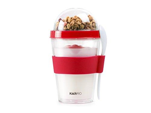 KITCHPRO Joghurt Cup to Go mit Müsli Container und Löffel, 300ml, rot