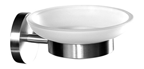 Ambrosya® | Exklusiver Seifenhalter aus Edelstahl | Bad Badezimmer Glas Halter Halterung Schale Seife Seifenablage Seifenhalterung Seifenschale Toilette WC (Edelstahl (Gebürstet)) (Badezimmer Seifenschale)