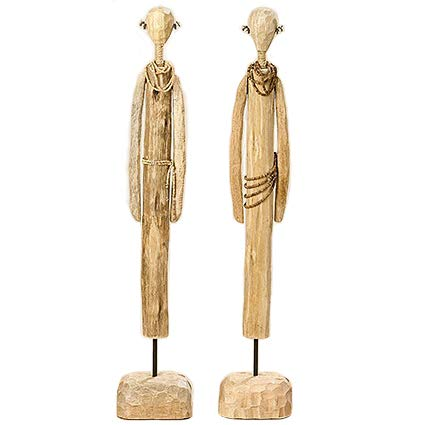 Home Collection 2 Set Modern Decorative Figures Wooden Massai Natural Handle Height approx 69 cm (Assorted)