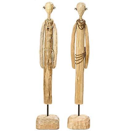 Home Collection Juego de 2 Figuras Modernas Decorativas Massai de Madera Mango Natural Altura aprox 69 cm (Variados)