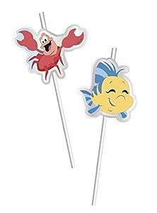 Procos pajitas con figura de Metallic Ariel Under The Sea, Multicolor, 5pr89063