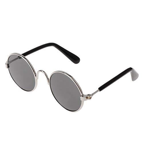 (Qiuxiaoaa Pet Metall Brille Mode Niedlichen Pet Brille Kostüm Sonnenbrille Requisiten Hund Katze Versorgung Produkte Silber Rahmen Schwarz Film)