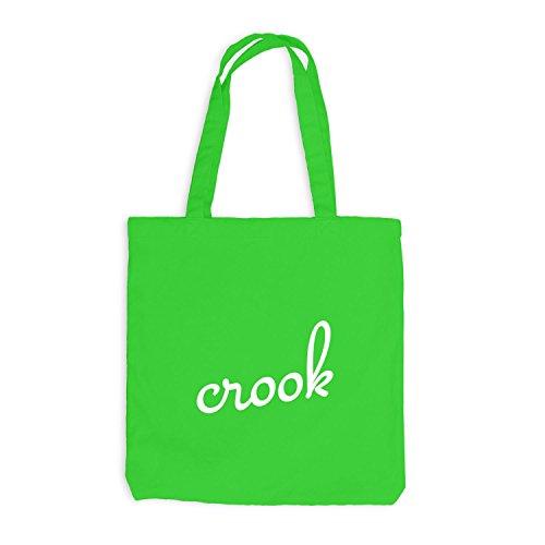 Borsa Di Juta - Crook Crook Bad Boy - Stile Scritto A Mano Verde Chiaro