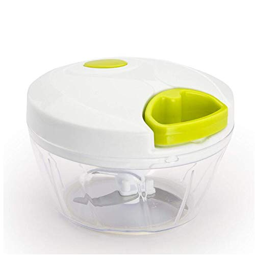 VATHJ Manuelle Gemüse Chopper Manuelle Küchenmaschine Edelstahl Abnehmbare Klinge Rutschfeste Basis Kein BPA (400 ml)