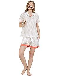 Mystere Paris Cat Print Shirt Shorts Set Cotton Sleepwear Nightwear  Loungewear Casual Women Ladies White I270B 5a8443f2e