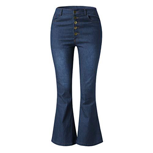 Bfmyxgs Damenmode Jeans Denim Lässig Herbst Elastisch Plus Lose Denim Tasche Taste Lässige Boot Cut Shorts Hose (Larp Kostüm Plus Größe)