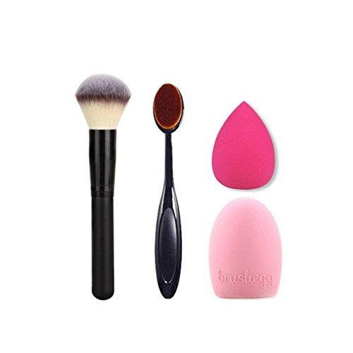 Timesong Brosse de Maquillage ovale Cosmétique Crème Poudre blush Outil de maquillage Gant Maquillage Brosse de nettoyage Scrubber Planche à laver et rose Mini Taille Maquillage éponge Puff Maquillage Brosse 4 en 1