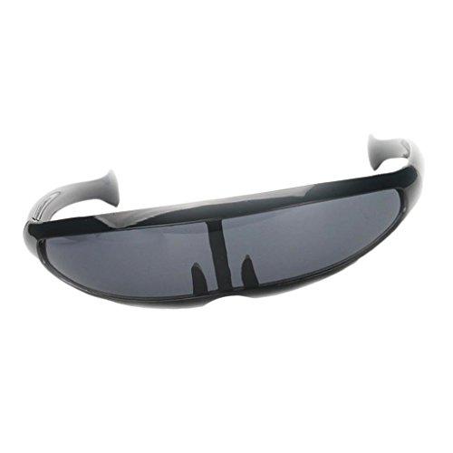 Baoblaze Herren Damen Funky Sonnenbrille Futuristische Sonnenbrillen Partybrille Funbrille Spaßbrille - Schwarz
