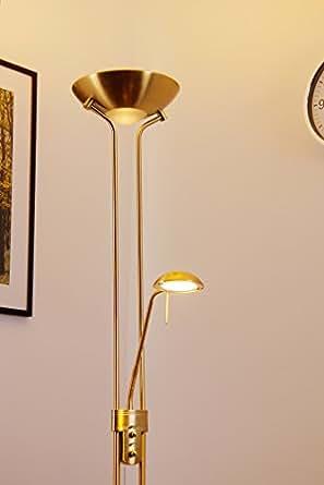 Floor lamp dimmable led in brass amazoncouk lighting for B spline led floor lamp