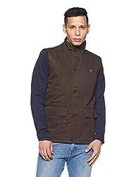 Peter England Mens Jacket (EOW51500504Lsleeveless_Mediumbrownwithbrown)