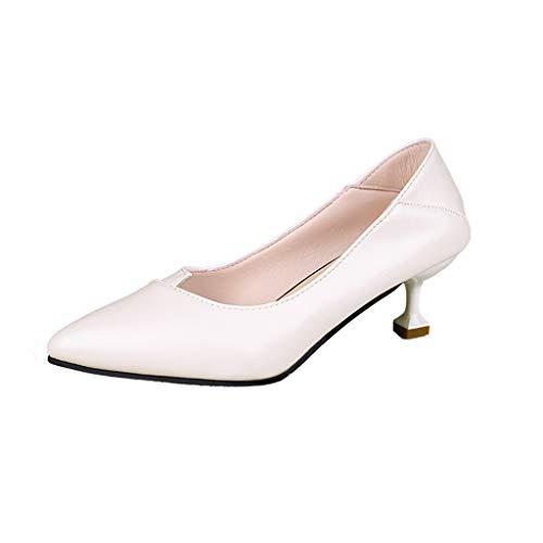 Formale Schuhe 4 (Makefortune-Schuhe Womens Damen Low Heel Pumps Komfort Arbeit Büro Formale Hochzeit Kleid Sandalen PU Leder Spitzschuh Slip-on Volltonfarbe Pumps Heels Größe 4-6)