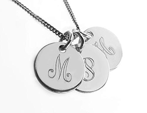 Personalisierte Halskette mit Gravur, Silber 925, Drei Monogramm- Anhänger, Verschnörkelte Schrift (Buchstaben-monogramm 3)