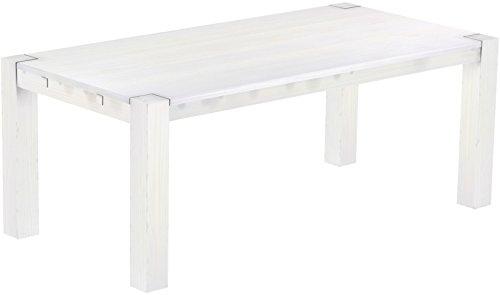 Brasilmöbel® Esstisch Rio Kanto 200x100x78 cm Pinie Weiss - Holz Tisch Pinie Esszimmertisch Küchentisch - vorgerichtet für Ansteckplatten - ausziehbar