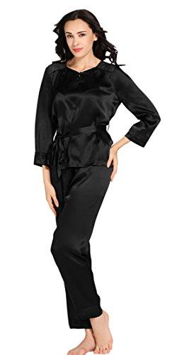 LILYSILK Ensemble de Pyjama Femme 100% Soie Dentelle Élégante 22 Momme Noir