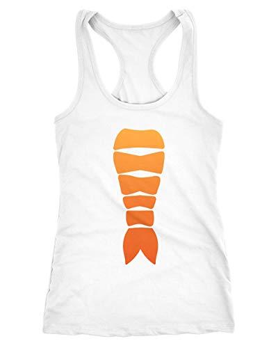 MoonWorks® Damen Tanktop Sushi Kostüm Fasching Karneval Verkleidung Shrimp Garnele Nigiri Karneval Notarzt 1 weiß - Garnelen Kostüm Für Erwachsene