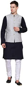 Dhrohar NEUDIS Cotton Nehru Modi Jacket Mandarian Collar Sleeveless Waist Coat (Grey)