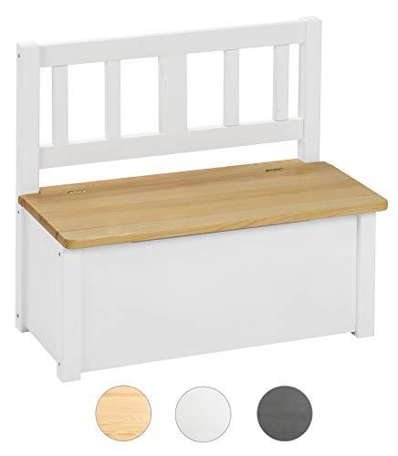 BOMI® Kinderbank Amy aus Kiefer Massiv Holz für Kleinkinder ab 24 Monate bis 10 Jahre | Kindertruhenbank Spielbank Truhenbank | Natur/Weiss