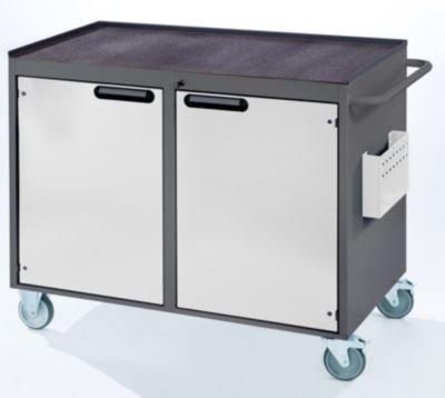 RAU Werkbank, fahrbar - 2 Türen, Metallablage mit Gummimatte, lichtgrau / enzianblau - Fahrbare Werkbänke Werkbänke, fahrbar Fahrbare Werkbänke Werkbänke, fahrbar - 2