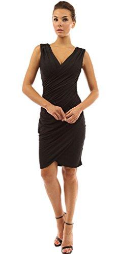 La Vogue Mini Robe Uni Cache Cœur Moulant V-Col Casual Été Sans Manche Noir