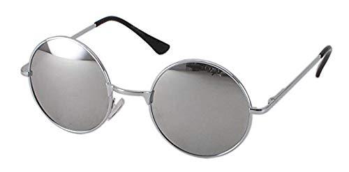 Eyewear World Runde Sonnenbrille, Gelenkarme, gratis gelb Halskordel, Silber Spiegel Objektiv, Silber Rahmen