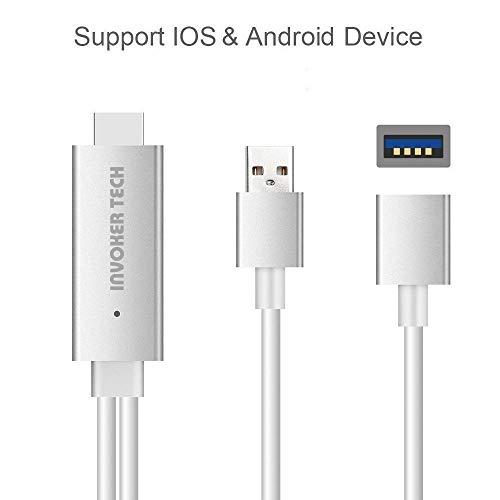 InvokerTech MHL Kabel für Android, 1,8 m Mhl auf HDMI Adapterkabel für HDTV Monitor Beamer 1080P, Plug and Play Unterstützung Android und iOS (hellgrau)