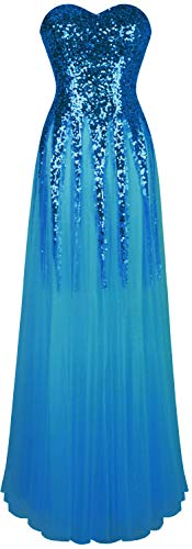 Angel-fashions Damen Pailletten Schatz Schleier Bandage Ballkleid Hochzeitskleid Small hellblau